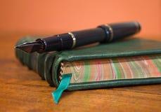 Penna che riposa sul bello giornale di cuoio Fotografia Stock