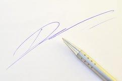 Penna con la firma Fotografie Stock