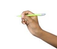 Penna con la mano Fotografia Stock
