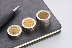 Penna con le monete di oro e del taccuino Immagini Stock Libere da Diritti