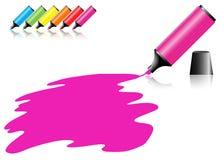 Penna del Highlighter con gli scarabocchi Fotografie Stock Libere da Diritti