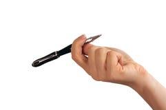Penna del nero del whith della mano fotografia stock