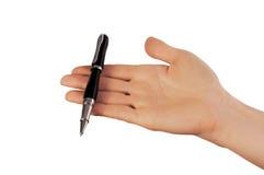 Penna del nero del whith della mano immagine stock