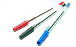 Penna del nero e di colore rosso blu Immagine Stock Libera da Diritti