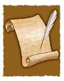 Penna del rotolo e di spoletta della pergamena Fotografia Stock Libera da Diritti