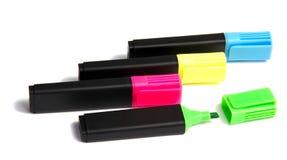Penna dell'evidenziatore dell'indicatore isolata su bianco Fotografie Stock