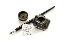 Penna della immersione con inchiostro nero Fotografia Stock Libera da Diritti