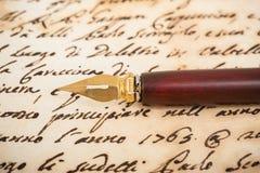 Penna della immersione dell'inchiostro Fotografia Stock Libera da Diritti
