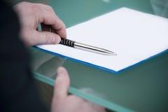 penna della mano Fotografia Stock Libera da Diritti