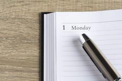 Penna di Îœetal su un calendario Immagine Stock Libera da Diritti