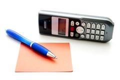 Penna di Ballpoint con il telefono Immagine Stock Libera da Diritti