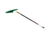 Penna di Ballpoint verde Fotografie Stock
