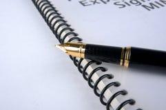 Penna di fontana e del documento Immagini Stock