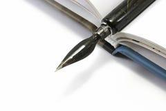 Penna di fontana e libro aperto Fotografie Stock