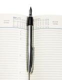 Penna di fontana sul diario Fotografia Stock Libera da Diritti