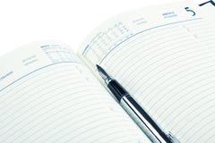 Penna di fontana sul diario aperto Immagine Stock
