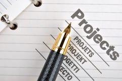 Penna di fontana sul progetto Immagine Stock