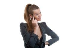 Penna di holding della donna di affari in sua mano fotografie stock libere da diritti