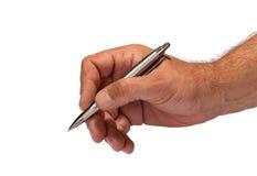 Penna di holding della mano Fotografie Stock Libere da Diritti