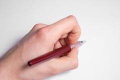 Penna di holding della mano Immagini Stock