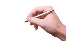 Penna di holding della mano e sign di scrittura Fotografia Stock