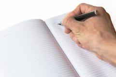 La registrazione della penna stilografica in blocchetto per appunti Fotografia Stock Libera da Diritti