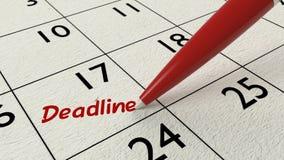 Penna di rosso del business plan dell'entrata del calendario di termine Fotografie Stock Libere da Diritti