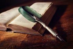 Penna di spoletta su un vecchio libro fotografia stock libera da diritti