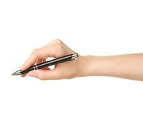 Penna di tenuta caucasica femminile della mano Fotografia Stock Libera da Diritti