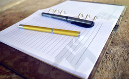Penna dorata sul taccuino Fotografie Stock Libere da Diritti