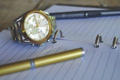 Penna dorata sul taccuino Immagine Stock Libera da Diritti