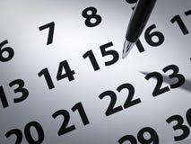 Penna e calendario Fotografia Stock