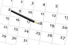 Penna e calendario Fotografie Stock