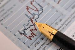 Penna e diagramma di fontana Immagine Stock