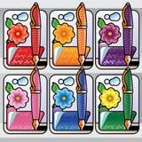 Penna e dispositivo di piegatura con il fiore Immagini Stock