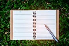 Penna e libro su erba Fotografie Stock