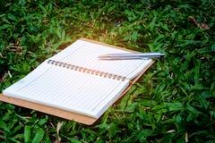 Penna e libro su erba Immagini Stock