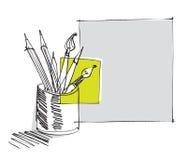 Penna e matite, illustrazione di disegno a mano libera Fotografia Stock