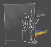 Penna e matite in una latta, illustrazione di disegno a mano libera Fotografia Stock Libera da Diritti