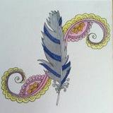 Penna för fjäderZenklotter och färgpulverteckning Fotografering för Bildbyråer