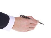 penna för man för affärshandholding Royaltyfri Bild