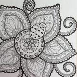 Penna för nyckelpiga- och blommaZenklotter och färgpulverteckning Arkivbild