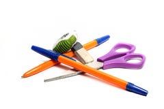 Penna, forbici e gomma Fotografie Stock Libere da Diritti