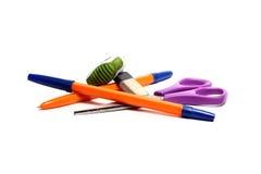 Penna, forbici e gomma Immagini Stock