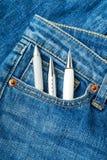 Penna i jeanfack Fotografering för Bildbyråer