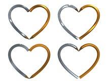 Penna nella figura del cuore isolata Immagine Stock
