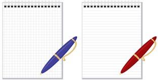 Penna och anteckningsbok stock illustrationer