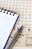 Penna och anteckningsbok på finansiell rapport Royaltyfria Bilder