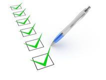 Penna och Checkboxes arkivfoton
