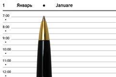 Penna och dagbok Arkivfoto